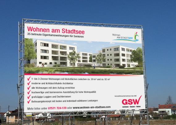 GSW Gesellschaft für Siedlungs- und Wohnungsbau Baden-Württemberg mbH Bauschild