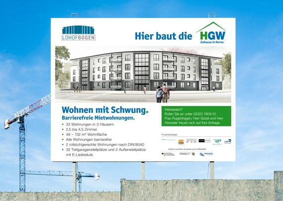 Herner Gesellschaft für Wohnungsbau mbH - Wohnungen in Herne Lohofbogen Bauschild